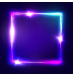 Neon sign Square frame with glowing and light vector image vector image