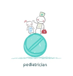 pediatrician with a child standing on a huge vector image vector image