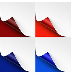 set of curled colored corners on bright background vector image