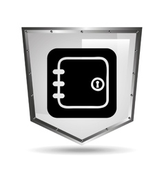 symbol box safety shield steel icon vector image