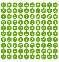 100 fire icons hexagon green vector