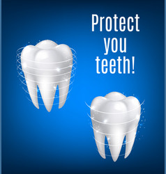 3d white teeth protection for dentistry vector image