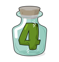 4 in laboratory bottle Figure magic vessel with a vector image