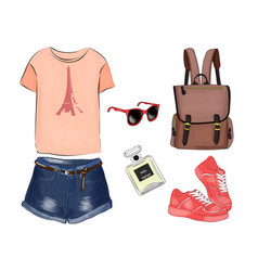 A set of summer outfit collection with accessories vector