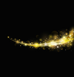 abstract gold light effect with bokeh design vector image