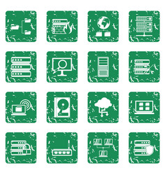 Big data icons set grunge vector