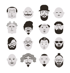 black and white faces men vector image