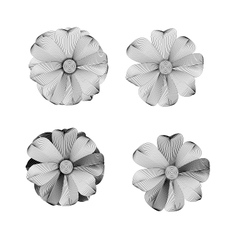 Black and white Flower lined pattern vector