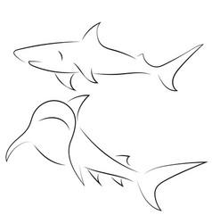 black line sharks on white background hand drawn vector image