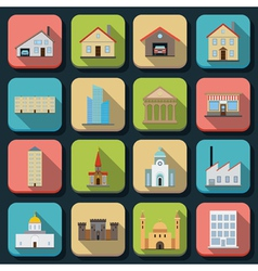 Buildings flat icons vector