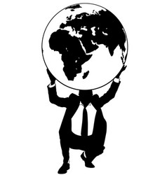 businessman holding earth globe vector image