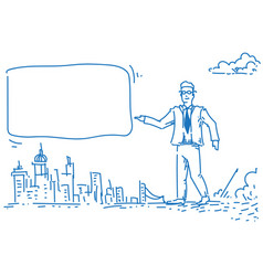 businessman pointing empty board advertising vector image