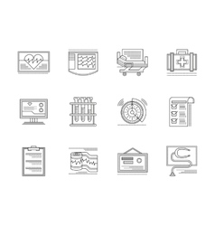 Cardiology elements linear icons set vector