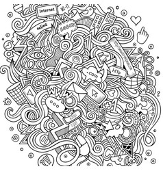 cartoon cute doodles hand drawn social media vector image