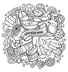 cartoon doodles wash your hands vector image