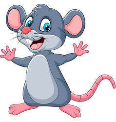 cartoon happy mouse waving vector image