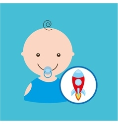 Cartoon rocket toy baby icon vector