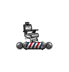 chair barber pole barber shop logo designs vector image
