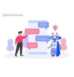 Chat bot messenger concept modern flat design vector