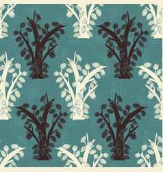 cocoa tree silhouettes on canvas seamless pattern vector image