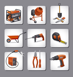 Construction tools icons vector
