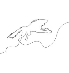 continuous single drawn one line wild wolf vector image