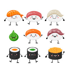 Cute cartoon sushi set characters kawaii sushi vector