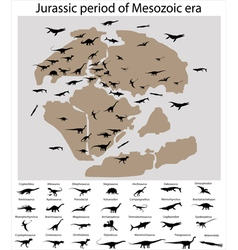 Dinosaurs of jurassic period on map vector