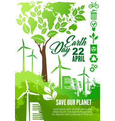 earth day celebration banner for ecology design vector image
