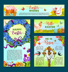 easter holiday cartoon banner poster template set vector image