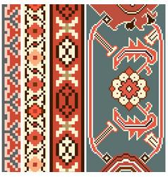 Ethnic carpet texture ribbon set vector