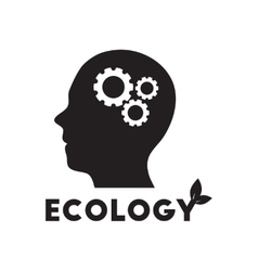 Flat icon in black and white ecological thinking vector