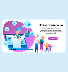 Flat online consultation with doctor vector