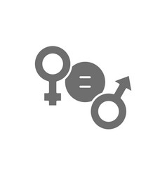 Gender equality female and male symbol grey icon vector