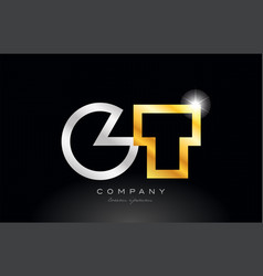 Gold silver alphabet letter gt g t combination vector