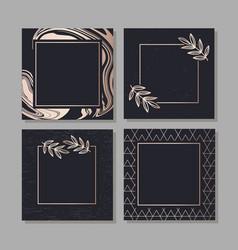 golden frame fluid art geometric elegant vector image