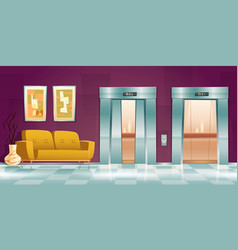 Hallway with lift doors empty lobwith couch vector