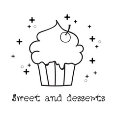 Hand drawn of cupcake doodle doodle art vector
