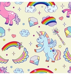 Hand drawn unicorns seamless pattern vector