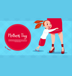 Happy mother day daughter embracing mom spring vector