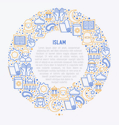Islamic concept in circle with thin line icons vector