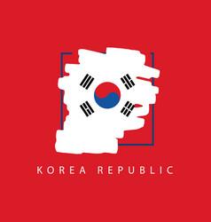 Korea republic brush logo template design vector