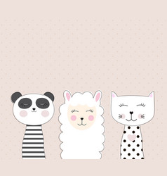 Little cute llama panda and cat for card and vector