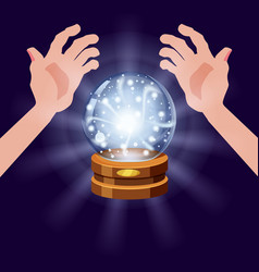 magic crystal ball fortune open hands mistery vector image