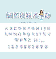 mermaid scale font for birthday cards posters vector image