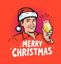 merry christmas greeting card pop art retro comic vector image