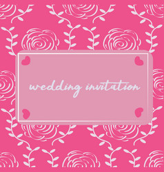 modern wedding invitation with rose pattern vector image