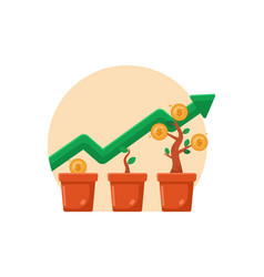 Money growing plant step with deposit coin in bank vector