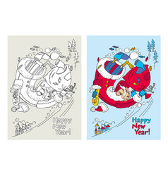 new year santa claus hand drawn coloring vector image