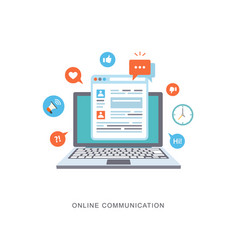 online communication flat with icons vector image